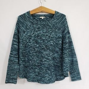Mystree sweater cape with sleeves teal and black M